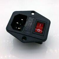 Power Cord Inlet Socket With Rocker Switch/Button - ON/OFF 250V 15A - Red LED - With Fuse (included)