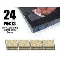 Arrowzoom Transparent Easy Mounting Sticky Tabs, Strong Double Sided Adhesive Tape (for Acoustic Foam) - 24 pieces kit