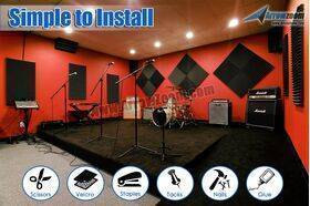 Arrowzoom Acoustic Panels Sound Absorption Studio Soundproof Foam - Wedge Tiles - 50 x 50 x 5 cm