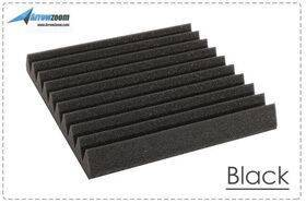 Arrowzoom Acoustic Panels Sound Absorption Studio Soundproof Foam - Wedge Tiles - 50 x 50 x 5 cm - Black