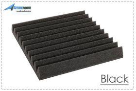 Arrowzoom Acoustic Panels Sound Absorption Studio Soundproof Foam - Wedge Tiles - 25 x 25 x 5 cm - Black