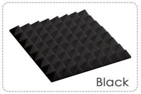 Arrowzoom Acoustic Panels Sound Absorption Studio Soundproof Foam - Pyramid Tiles - 50 x 50 x 5 cm Black