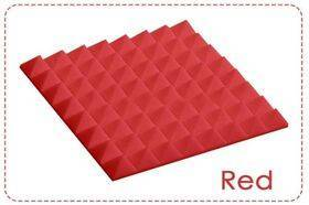 Arrowzoom Acoustic Panels Sound Absorption Studio Soundproof Foam - Pyramid Tiles - 50 x 50 x 5 cm Red