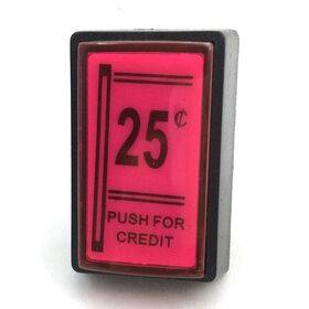Coin Drop Replacement Pushbutton - Push for Credit - 25c Credit Button - Red